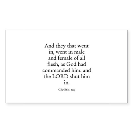 GENESIS 7:16 Rectangle Sticker