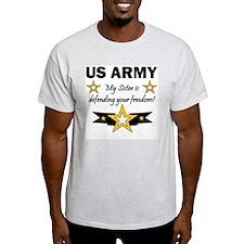 US Army Sister Patriotic Ash Grey T-Shirt