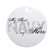 Aunt is my Hero NAVY Ornament (Round)