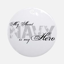 Aunt is my Hero NAVY Ornament (Round)
