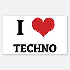 I Love Techno Rectangle Decal