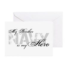Brother is my Hero NAVY Greeting Cards (Pk of 10)