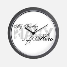 Brother is my Hero NAVY Wall Clock
