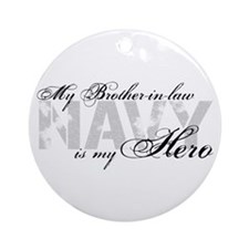 Brother-in-law is my Hero NAVY Ornament (Round)