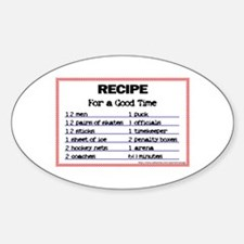 Hockey recipe. Oval Decal