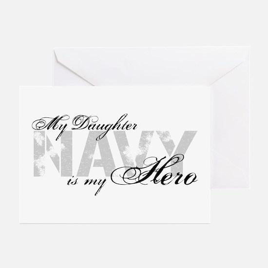 Daughter is my Hero NAVY Greeting Cards (Pk of 10)