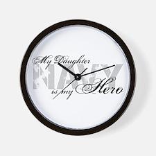 Daughter is my Hero NAVY Wall Clock