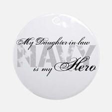 Daughter-in-law is my Hero NAVY Ornament (Round)
