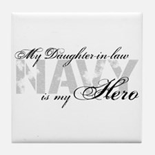 Daughter-in-law is my Hero NAVY Tile Coaster