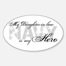 Daughter-in-law is my Hero NAVY Oval Decal