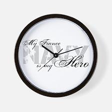Fiance is my Hero NAVY Wall Clock