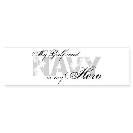 Girlfriend is my Hero NAVY Bumper Sticker