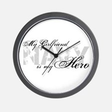 Girlfriend is my Hero NAVY Wall Clock
