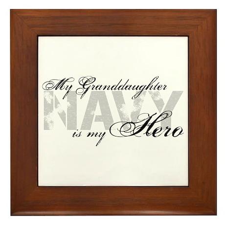 Granddaughter is my Hero NAVY Framed Tile