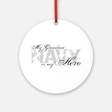 Grandma is my Hero NAVY Ornament (Round)