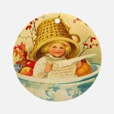 Thanksgiving Child Hostess Gift Ornament (Round)