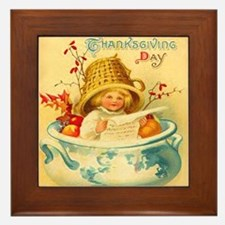 Thanksgiving Child Hostess Gift Framed Art Tile