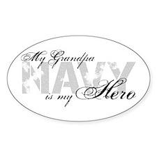 Grandpa is my Hero NAVY Oval Decal