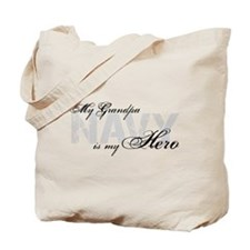 Grandpa is my Hero NAVY Tote Bag