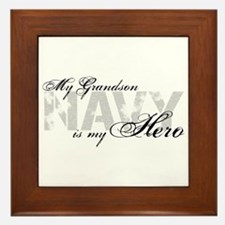 Grandson is my Hero NAVY Framed Tile