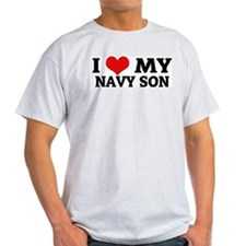 I Love My Navy Son Ash Grey T-Shirt