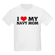 I Love My Navy Mom Kids T-Shirt