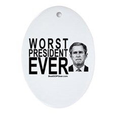 """Worst President Ever"" Oval Ornament"