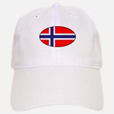 Oval Norwegian Flag Baseball Baseball Cap