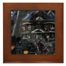 Haunted House Schipperke Framed Tile