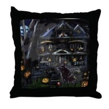 Haunted House Schipperke Throw Pillow