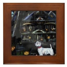 Haunted House Westie Framed Tile