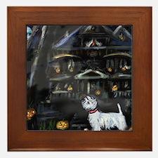 Haunted House Westie Framed Tile