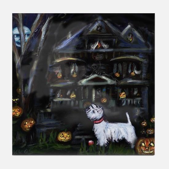 Haunted House Westie Tile Coaster