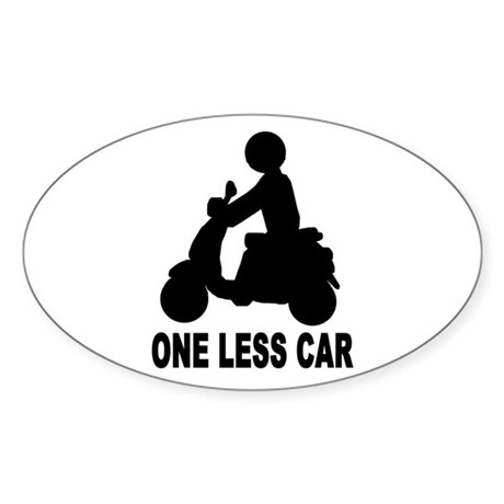 One less car motor scooter Oval Sticker (10 pk)