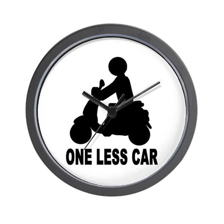 One less car motor scooter Wall Clock