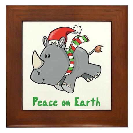 Peace Rhino Framed Tile