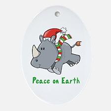 Peace Rhino Oval Ornament