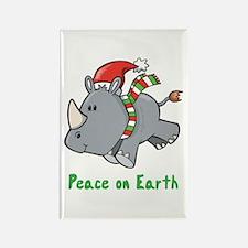 Peace Rhino Rectangle Magnet