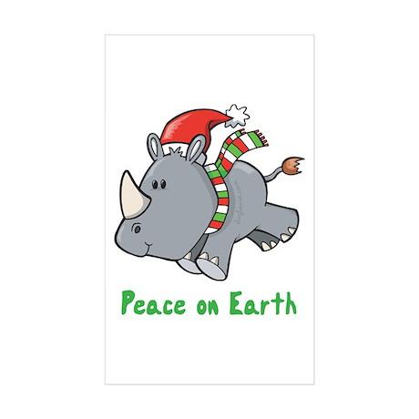 Peace Rhino Rectangle Sticker 10 pk)