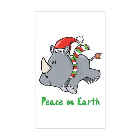 Peace Rhino Rectangle Sticker