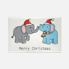 Elephant Christmas Rectangle Magnet (10 pack)