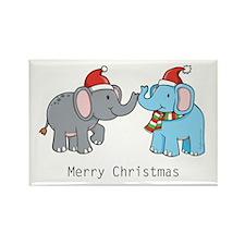Elephant Christmas Rectangle Magnet (100 pack)
