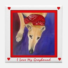 I Love My Greyhound I Tile Coaster