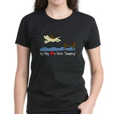 Cartoon Dock Jumping Women's Dark TShirt (Wht Txt)