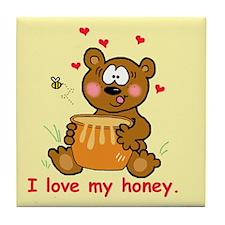 """I Love My Honey"" Tile Coaster"