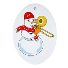 Snowman Trombone Oval Ornament