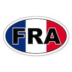 French (FRA) Flag Oval Sticker