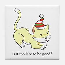 Hopeful Cat Tile Coaster