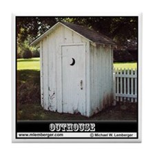 Gable Roof Outhouse Tile Coaster