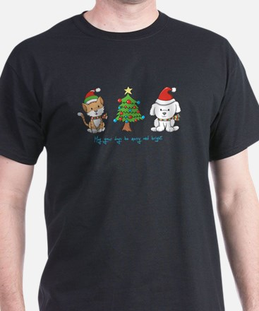 Cat and Dog Christmas T-Shirt